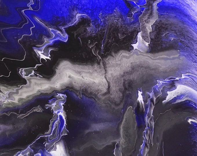 Purple Blue Lightning Series - adaption from original LeClaire acrylic liquid fluid dirty pour painting -new abstract marble art black white