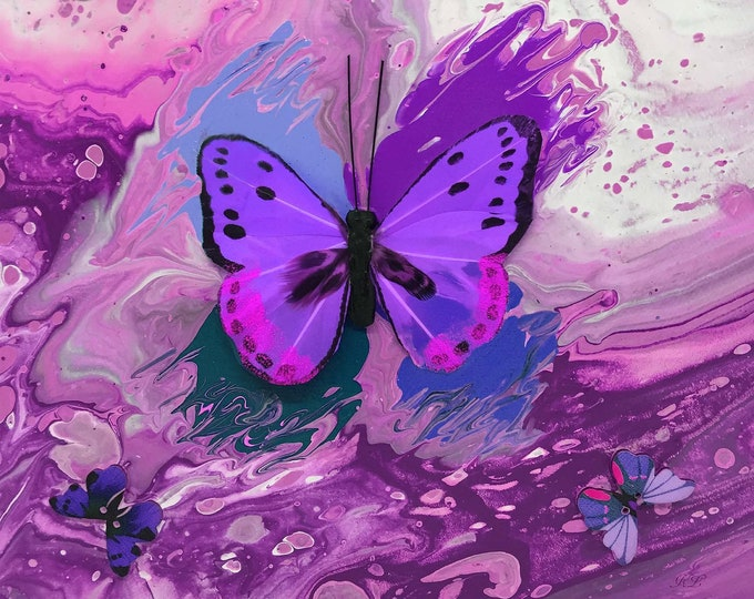 Purple Butterfly Series Print - 12 x 12 inch from original LeClaire acrylic embellished liquid dirty pour marble painting - abstract art