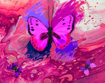 Pink Butterfly Series Print 12 x 12 inch from original LeClaire acrylic embellished liquid pour painting - abstract art Artbyleclairedesigns