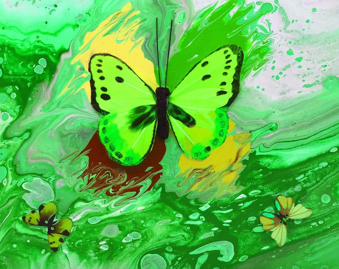 Neon Green Butterfly Series Print - 12 x 12 inch from original LeClaire acrylic liquid embellished pour painting - new abstract marble art