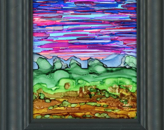 Framed Original Alcohol Ink hand painted abstract landscape pink sky ArtByLeClaireDesigns 3.5x5 painting on glass 5x7 frame art desk size
