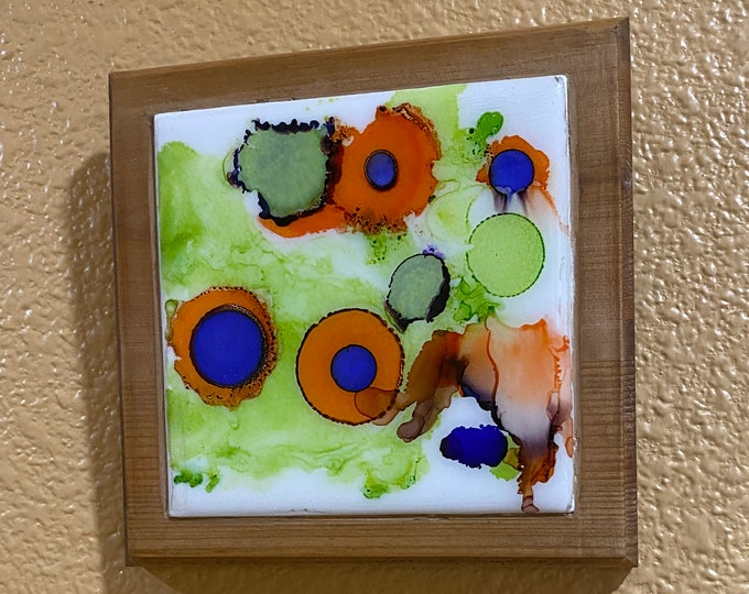 "Framed Tile Painting Original Hand Painted Signed Abstract Alcohol Ink 3.5x3.5"" Tile in Custom 5x5"" Wood Frame Circles Splatters Eyeballs"