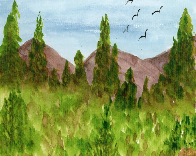 """New Watercolor 8.5x5.5"""" original mountain stream pine trees peaceful creek landscape signed not a print hand painted trees peaceful birds"""
