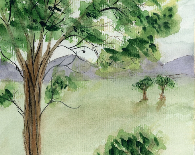 8.5x5.5 Original New Watercolor Pen Ink Green Landscape Trees Serene Peaceful line and wash hand painted mountains spring not a print