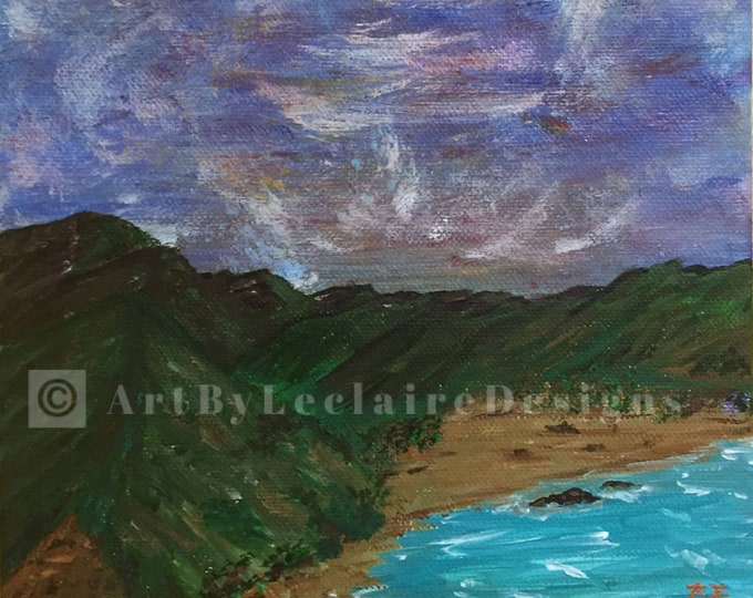 Ocean Cliff Original Acrylic Painting 8 x 8 inch box frame painted all sides mini art under 5 dollar gift purple sky beach water cliff