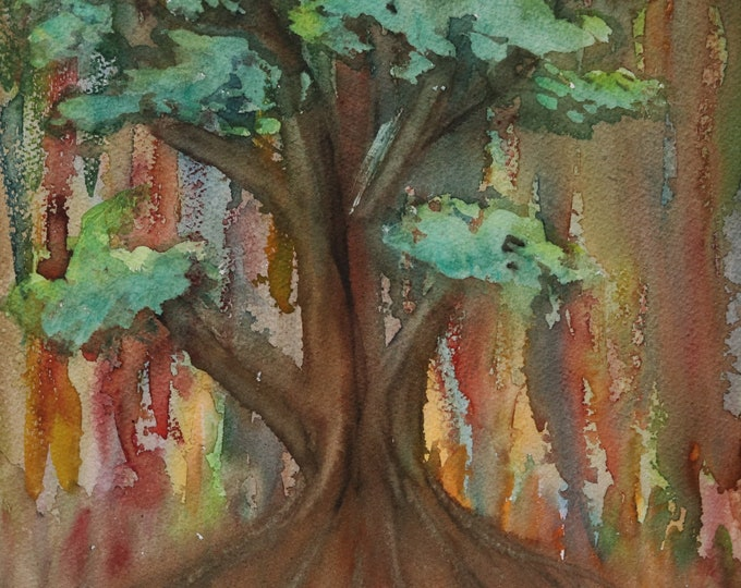 10x14 Roots of Life signed original spontaneous poured drippy watercolor tree leaves landscape hand painted portrait orientation Not a Print