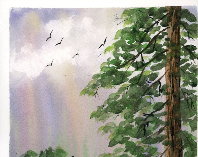 Heaven's Wings original watercolor one of a kind 9x12 landscape soaring birds rainbow sky mountain silhouette tree hand painted ethereal