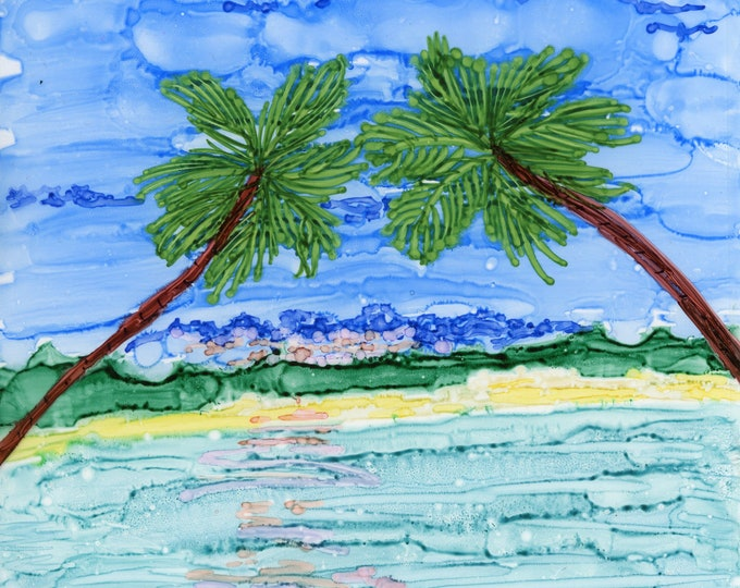 Original Alcohol Ink Painting 5x7 tropical palm trees ocean seascape desk size one-of-a-kind ArtByLeClaireDesigns unframed blue turquoise