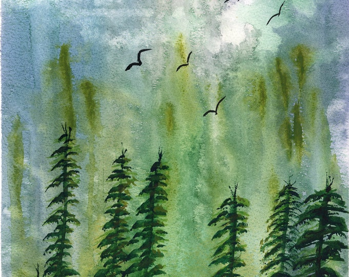 Evergreens original watercolor one of a kind 9x12 landscape soaring birds rainbow sky mountain silhouette trees hand painted forest green