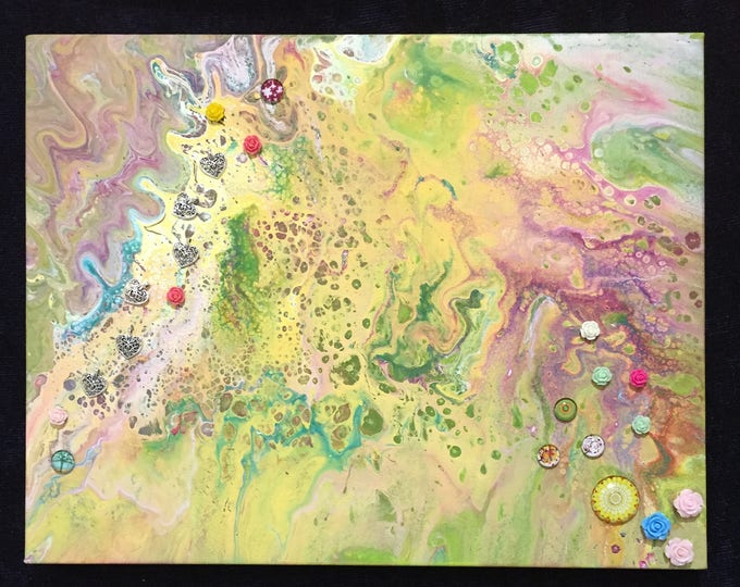 Embellished Yellow and Green Dirty Pour, Original Liquid Poured 3-D Flow Art Acrylic Painting - 11 x 14 inch box frame -flowers, hearts