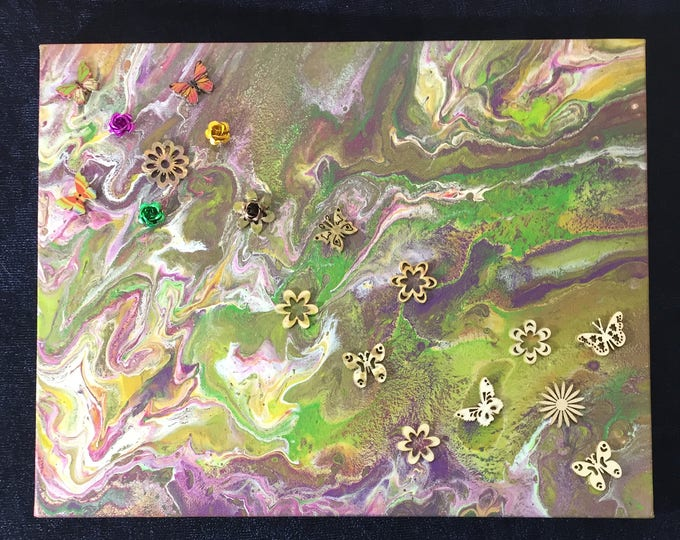 "Change of the Butterfly Embellished Purple Pink, Green Dirty Pour, Original Liquid Poured 3-D Flow Art Acrylic Painting 11 x 14"" box frame"