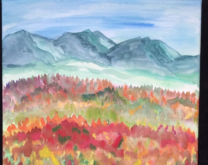 Fall Colors Watercolor Painting New Original Mixed Colors 12 x 12 inch wrapped canvas Mountains Red Orange Trees ArtByLeClaireDesigns Autumn