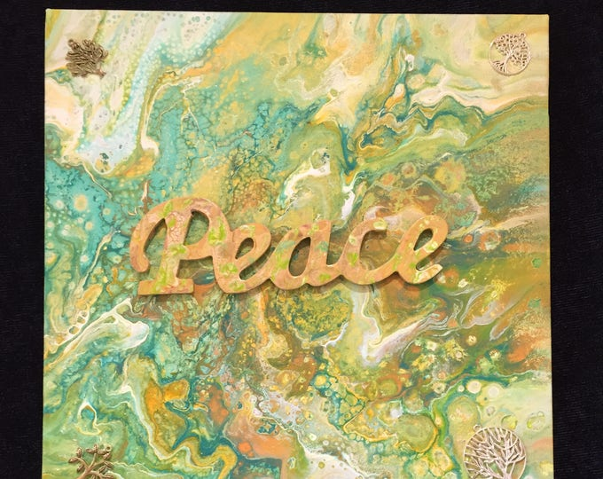 Peace Painting Print Liquid Fluid Dirty Pour Embellished 3-D Acrylic - 12 x 12 Decorated 3 Dimensional Painting Green Orange Mixed Colors