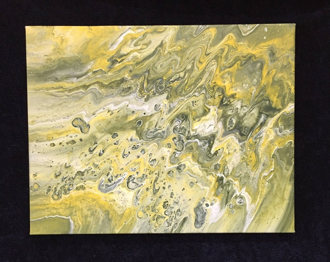 Original Liquid Poured Acrylic Painting - Dirty Pour Green, Yellow, White, Mixed  11 x 14 inch box frame - WI NFL Football Team Colors Art