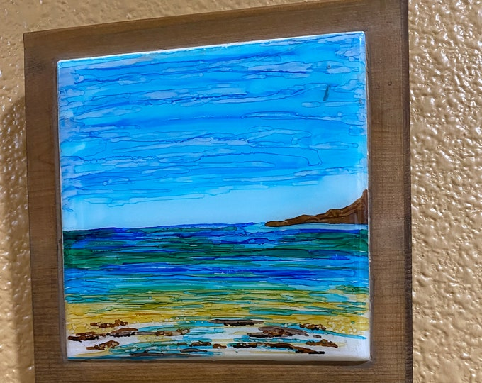 "Framed Tile Painting Original Hand Painted Signed Ocean Beach Seascape 3.5x3.5"" Ceramic Tile in Custom 5x5"" Wood Frame Tiny Art Alcohol Ink"