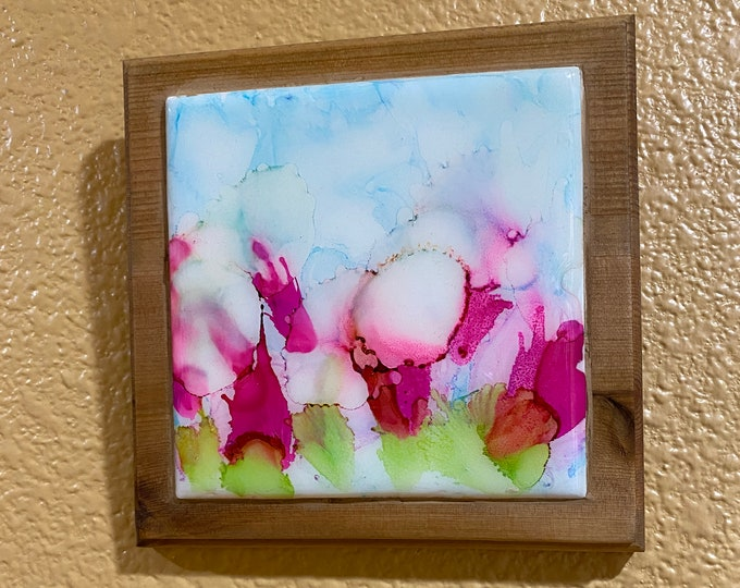 "Framed Tile Painting Original Hand Painted Signed Floral Abstract Alcohol Ink 3.5x3.5"" Tile in Custom 5x5"" Wood Frame Tiny Art Hot Pink Blue"