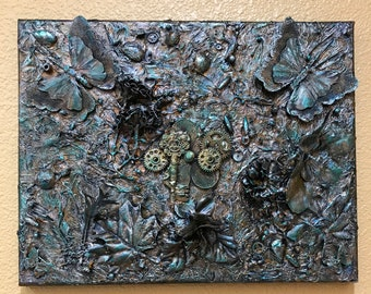 Steampunk Mixed Media 3D 11x14 Painting Gears Keys Gold Turquoise Black Abstract Feathers Box Canvas Beads ArtByLeClaireDesigns 3 Dimension