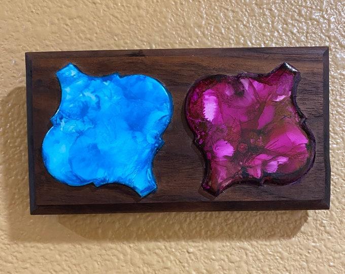 "Framed Walnut Double Tile Hand Painted Original Signed Abstract Alcohol Ink Artwork 3.5x6.5"" Custom Wood Frame Light Blue Hot Pink Curvy"