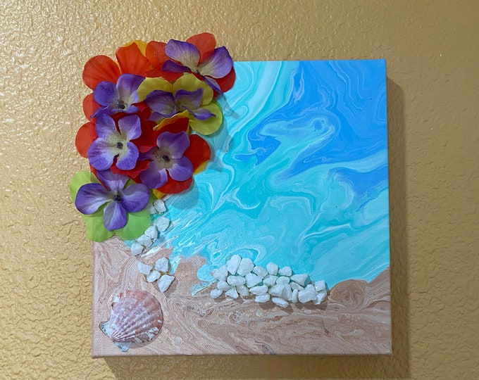 3 D Beach Tropical Flowers Embellished Liquid Fluid Dirty Poured 3-D Acrylic 8x8 rocks sand shells turquoise water blue - 3 Dimensional Art