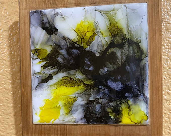 "Framed Tile Painting Original Hand Painted Signed Abstract Alcohol Ink 3.5x3.5"" Tile in Custom 5x5"" Wood Frame Bumblebee Hornet Splatter Art"