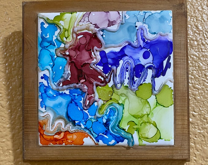 "Framed 3-D Tile Painting Original Hand Painted Signed Abstract 3.5x3.5"" Tile in Custom 5x5"" Wood Frame Tiny Art Alcohol Ink Splatter Paint"