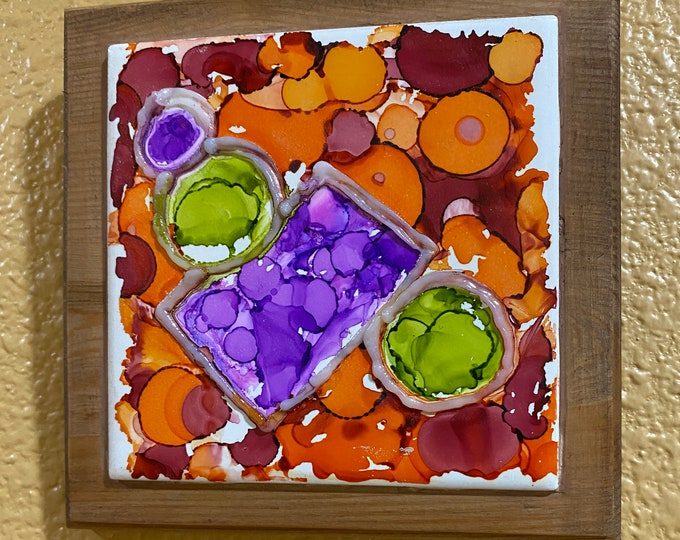 "Framed 3-D Tile Painting Original Hand Painted Signed Abstract Circles 3.5x3.5"" Tile in Custom 5x5"" Wood Frame Tiny Art Alcohol Ink Ceramic"
