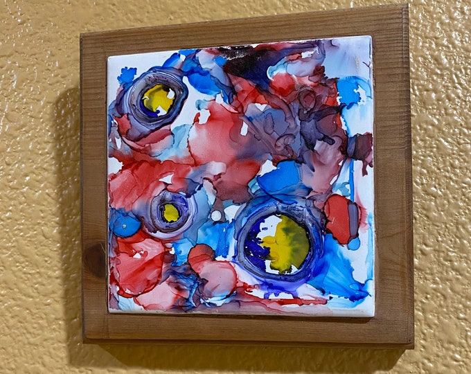 "Framed 3-D Tile Painting Original Hand Painted Signed Abstract Warped Circles 3.5x3.5"" Tile in Custom 5x5"" Wood Frame Tiny Art Alcohol Ink"
