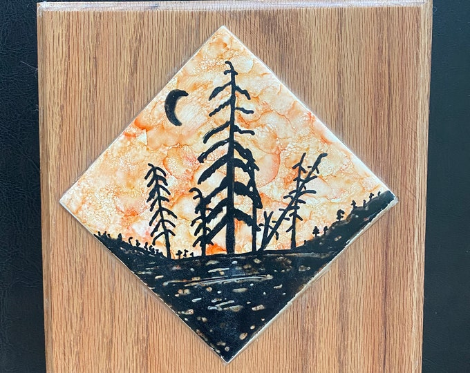 Framed Tile Painting Original Hand Painted Signed Silhouette Diagonal Landscape 4x4 Tile Custom 7x7 Oak Frame Tiny Art Alcohol Ink Trees