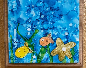Hand painted ceramic tile alcohol ink wall art signed 6x6 ocean with fish expressionism original 7x7 Custom designed Frame ready to hang