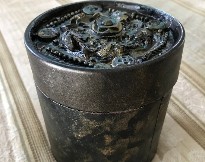 "Mixed Media 3-D Storage Box beaded painted one of a kind copper bronze romantic round 4x3.5"" flowers roses metallic Recycled - Reuse Art"