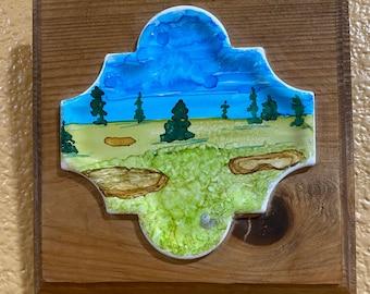"Framed Tile Painting Original Hand Painted Signed Golf Landscape Unique 3.5x3.5"" Curvy Tile in Custom 5x5"" Wood Frame Tiny Art Alcohol Ink"