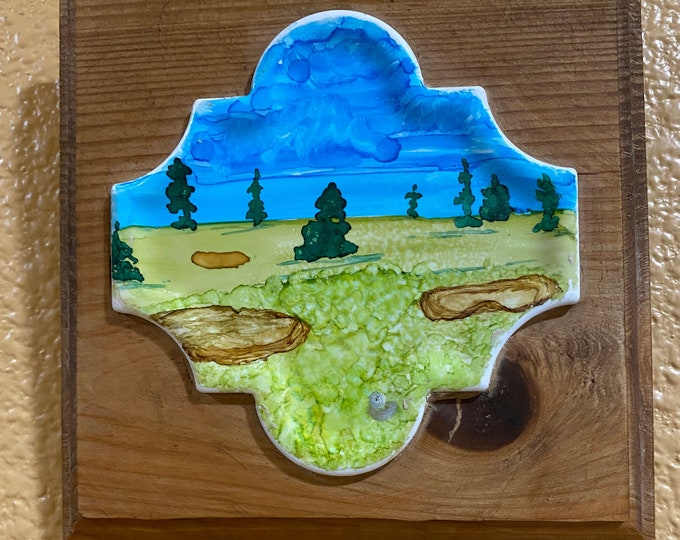 "Framed Tile Painting Original Hand Painted Signed Golf Landscape Unique 3.5x3.5"" Curvy Tile in Custom 5x5"" Wood Frame Tiny Art Alcohol Ink"