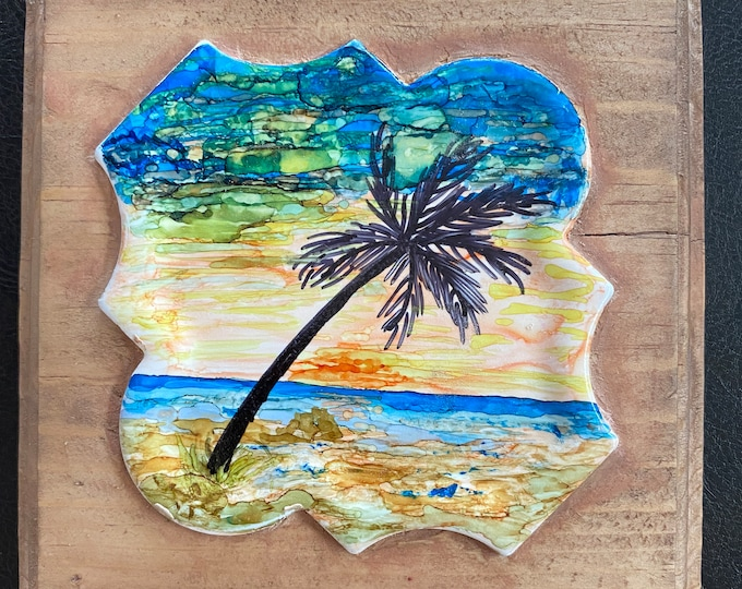 "Framed Tile Painting Original Hand Painted Signed Ocean Beach Seascape 3.5x3.5"" Curvy Tile in Custom 5x5"" Wood Frame Tiny Art Alcohol Ink"