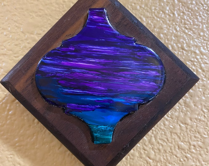 "Framed Tiny Walnut Tile Hand Painted Original Signed Abstract Alcohol Ink Artwork 3.5x3.5"" Custom Wood Frame Purple Pink Sunset Sky Art"