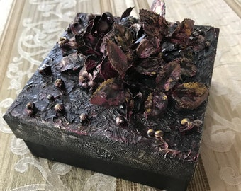 """Mixed Media 3-D Storage Box beaded painted one of a kind rose gold copper romantic 5x5"""" flowers beads metallic gift art ArtByLeClaireDesigns"""