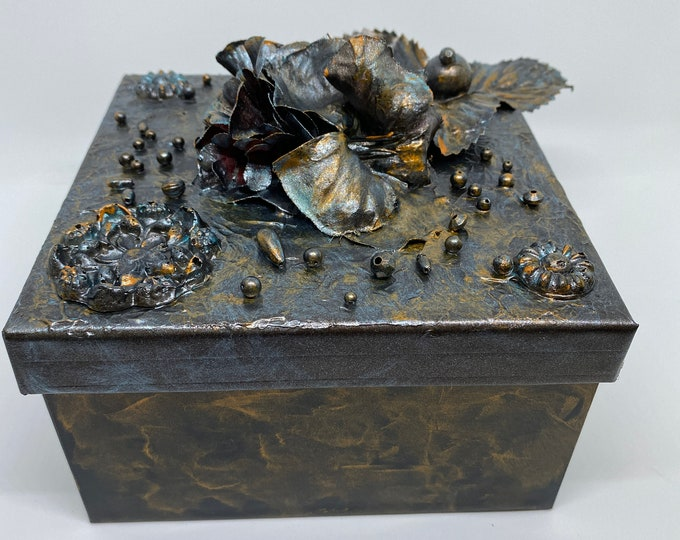 "Mixed Media 3-D Storage Box beaded painted one of a kind copper bronze romantic 6x3.5"" flowers roses metallic gift art Recycled - Reuse Art"