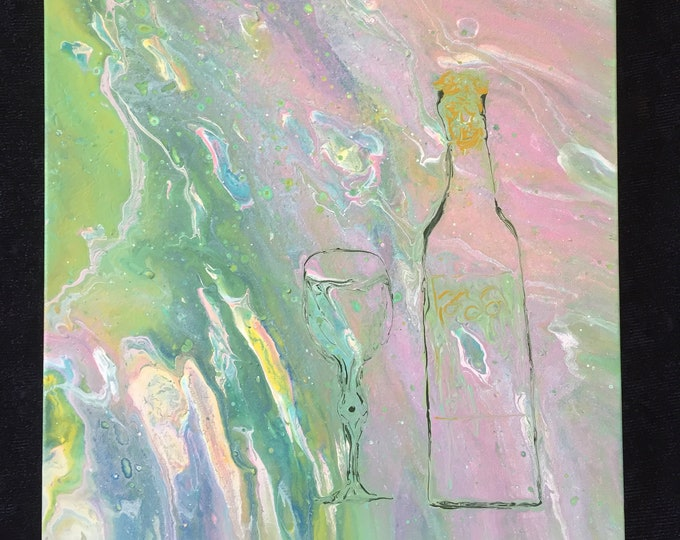 Drink Relax Repeat original acrylic liquid dirty fluid pour painting abstract turquoise pink wine bottle glass hand painted surrealism 11x14