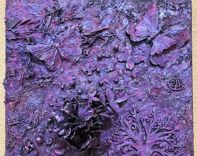 Mixed Media 3D 12x12 Painting Pink Purple Silver Black Abstract Feathers Box Canvas Beads Butterfly Tree ArtByLeClaireDesigns 3 Dimension