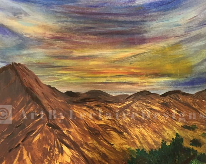 Sunset Cliffs - 20x24 Hand embellished acrylic on canvas giclee from an original painting Artbyleclairedesigns