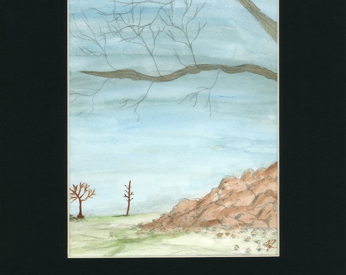 Rocky Trees Forest Watercolor New Original LeClaire Hand Painted Not A Print ArtByLeClaireDesigns Black Mat 8.5x11 Soft Blue Rocks