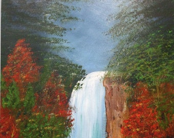 """Waterfall Cliff Signed Print Original Acrylic Painting 11x14"""" Brown Mat Autumn Trees Landscape Mountain Water Moonlight LeClaire"""