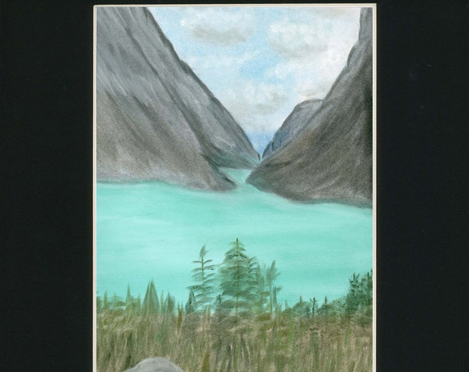 Yukon Glacier Skagway Train Pastel Canada Original New Artist Vacation Scene LeClaire Art Turquoise Lake Mountains Hand Painted Black Mat