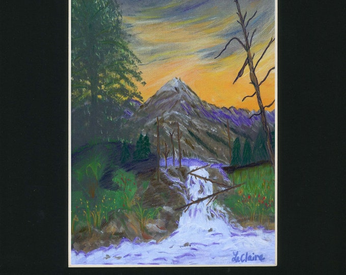 Pastel Embellished Print of LeClaire Painting Mountains Hand Painted Black Mat Waterfall Purple Sky Orange Sunset Trees Landscape 1 of 1
