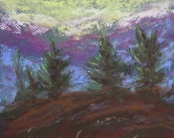 8x10 Mountain Ridge signed original pastel one of a kind landscape Impressionistic hand painted with trees in the mountain Not a Print blue