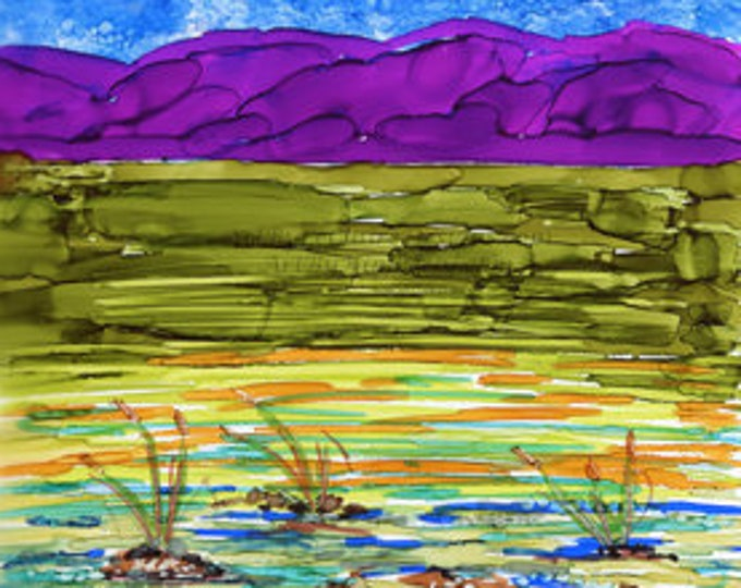 Downloadable Art Print - Ocean Marsh - High Resolution - Alcohol Ink on Glass Hand Painted Vibrant Colored Painting 5 file sizes flow art