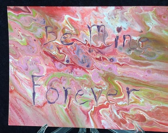 Be Mine Forever Pink Abstract Original Liquid Dirty Poured Acrylic Painting - 9x12 Canvas Board Surrealism Marble Art Fluid Love Gift New