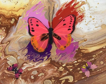 Cream Butterfly Series Print - 12 x 12 inch from original LeClaire acrylic liquid embellished pour painting - abstract art
