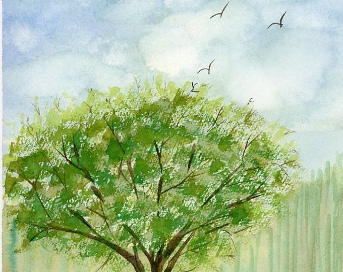 Spring Tree original watercolor one of a kind 9x12 landscape serene peaceful lush trees soaring birds white fluffy clouds hand painted