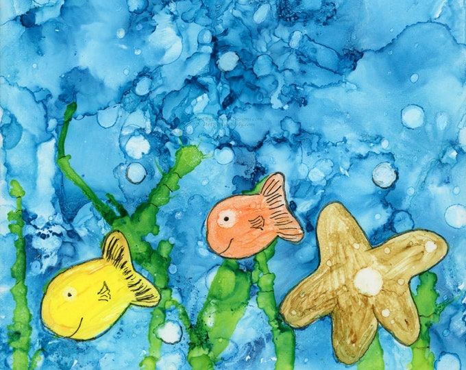 Square Alcohol Ink Painting Downloadable Art Print Hand Painted Tile 1:1 Ratio Abstract Ocean Happy Fish Starfish Kids Room Picture Bubbles