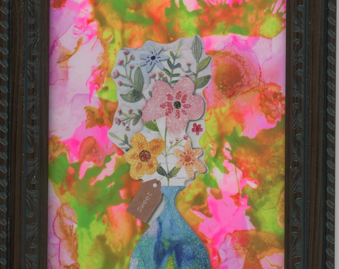 Sweet Original Acrylic Ink Painting ArtByLeClaireDesigns framed 5x7 abstract air brush art desk size one-of-a-kind happy art flowers in vase